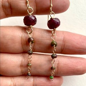 Ruby And Black Fire Opal Earrings 14kGF